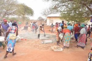The Water Project: Mang'uu Primary School -  Community Members Help Construction