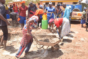 The Water Project: Mang'uu Primary School -  Hauling A Rock For The Tank