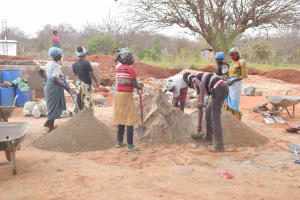 The Water Project: Mang'uu Primary School -  Help Mixing Cement