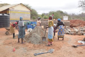 The Water Project: Mang'uu Primary School -  Mixing Cement