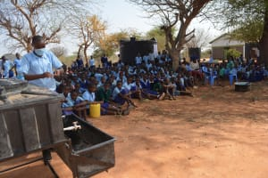 The Water Project: Mang'uu Primary School -  Students Watch Handwashing Demonstration