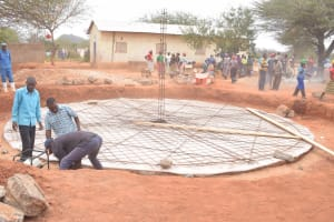 The Water Project: Mang'uu Primary School -  Working On Tank Foundation