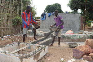 The Water Project: Lungi, Tintafor, Sierra Leone Church Primary School -  Pad Construction