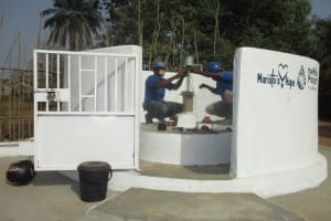 The Water Project: Lungi, Tintafor, Sierra Leone Church Primary School -  Pump Installation