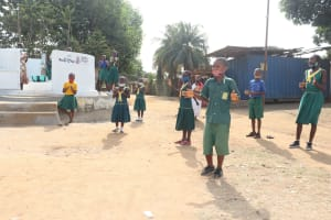 The Water Project: Lungi, Tintafor, Sierra Leone Church Primary School -  Students Celebrate The Well By Singing