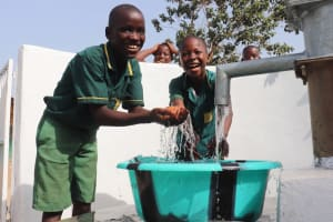 The Water Project: Lungi, Tintafor, Sierra Leone Church Primary School -  Students Celebrating