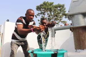 The Water Project: Lungi, Tintafor, Sierra Leone Church Primary School -  Teachers Celebrate Their Well