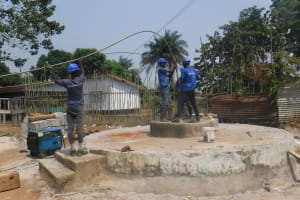 The Water Project: Lungi, Tintafor, Sierra Leone Church Primary School -  Yield Test