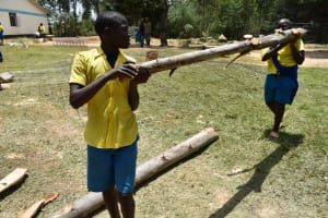 The Water Project: Shikomoli Primary School -  Students Help Carry Logs