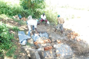 The Water Project: Mwitwa Community, Matiang'i Spring -  Building The Stairs