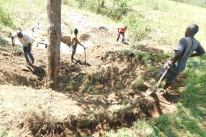 The Water Project: Mwitwa Community, Matiang'i Spring -  Digging Diversion Channels