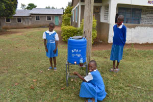 The Water Project: Gimarakwa Primary School -  Using A New Handwashing Facility