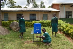 The Water Project: Galona Primary School -  Using A New Handwashing Facility