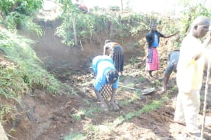 The Water Project: Khaunga A Community, Murutu Spring -  Planting Grass Above Catchment Area