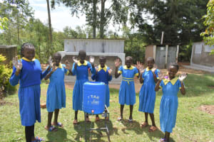 The Water Project: Shikomoli Primary School -  Students Pose With Handwashing Station