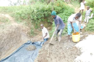 The Water Project: Mwitwa Community, Matiang'i Spring -  Setting Up Foundation