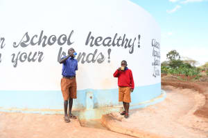 The Water Project: Kavyuni Salvation Army Primary School -  Drinking Water From The Tank