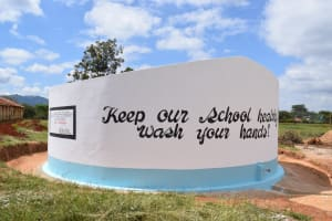 The Water Project: Kavyuni Salvation Army Primary School -  Painted Tank