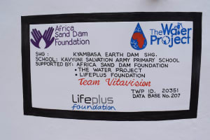 The Water Project: Kavyuni Salvation Army Primary School -  Plaque