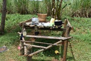 The Water Project: Nangurunya Community, Robert Musali Spring -  Dishrack With Utensils Sundrying On It