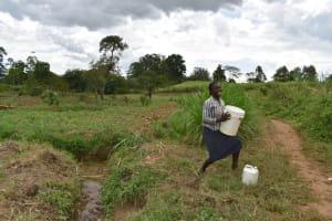 The Water Project: Nangurunya Community, Robert Musali Spring -  Lydia Mounting Water On Her Head