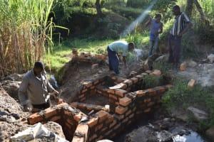 The Water Project: Bukhakunga Community, Maikuva Spring -  Wall Construction