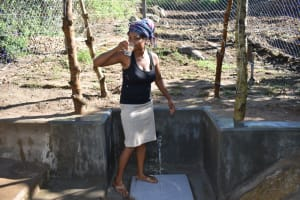 The Water Project: Bukhakunga Community, Maikuva Spring -  Drinking From The Water Point