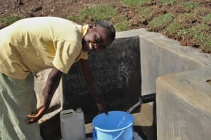 The Water Project: Litinye Community, Vuyanzi Spring -  Collecting Water