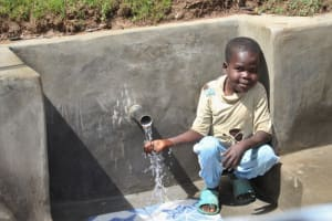The Water Project: Mayuge Community, Ucheka Spring -  Enjoying Water At The Spring