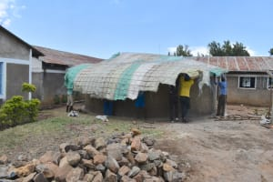 The Water Project: Gimarakwa Primary School -  Setting The Frame Of The Dome In Place