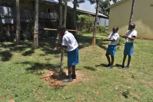 The Water Project: Gimarakwa Primary School -  Filling The Containers With Soil For The Kitchen Garden