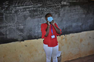 The Water Project: Saosi Primary School -  Mask Wearing Demonstration