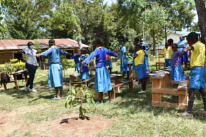 The Water Project: Shikomoli Primary School -  Physical Distancing Demonstration