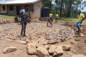 The Water Project: Isikhi Primary School -  Wire Reinforcing The Foundation