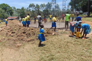 The Water Project: Isikhi Primary School -  Students Helping With The Process