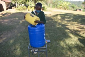 The Water Project: Galona Primary School -  Filling A Handwashing Station With Water