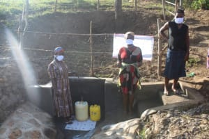 The Water Project: Mwitwa Community, Matiang'i Spring -  Women Posing At The Spring
