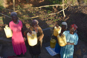 The Water Project: Khaunga A Community, Murutu Spring -  Elder Women Celebrate The Spring