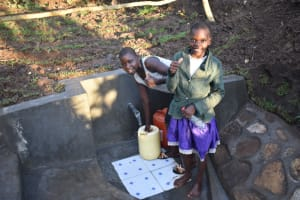 The Water Project: Khaunga A Community, Murutu Spring -  Thumbs Up At The Spring