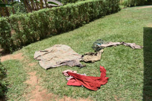 The Water Project: Ematetie Community, Amasetse Spring -  Clothes Drying On The Grass