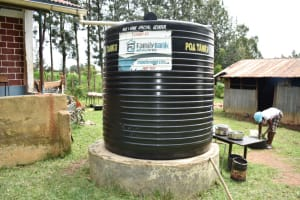 The Water Project: Rise and Shine Special School for the Physically Handicapped -  Small Plastic Rain Tank