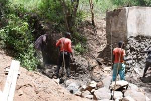 The Water Project: Kangalu Community B -  Starting Up The Dam Walls