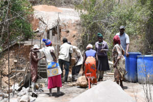 The Water Project: Syonzale Community -  Community Members Leading The Construction