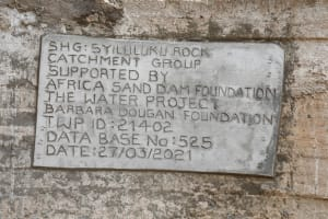 The Water Project: Syonzale Community -  Dam Plaque