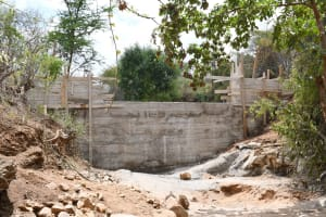 The Water Project: Syonzale Community -  Dam Walls Nearly Done