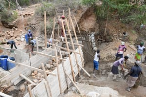 The Water Project: Syonzale Community -  Overhead Shot Of Dam Construction