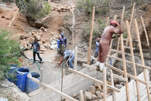 The Water Project: Syonzale Community -  Scaffolding For Dam