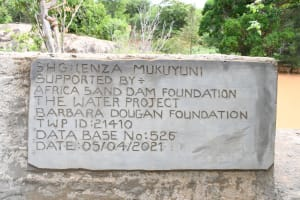 The Water Project: Kithalani Community -  Dam Plaque