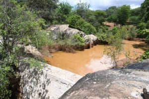 The Water Project: Kithalani Community -  Water And Sand Builds Up Behind Dam