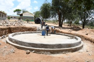 The Water Project: Ndithi Primary School -  Finalizing Tank Foundation